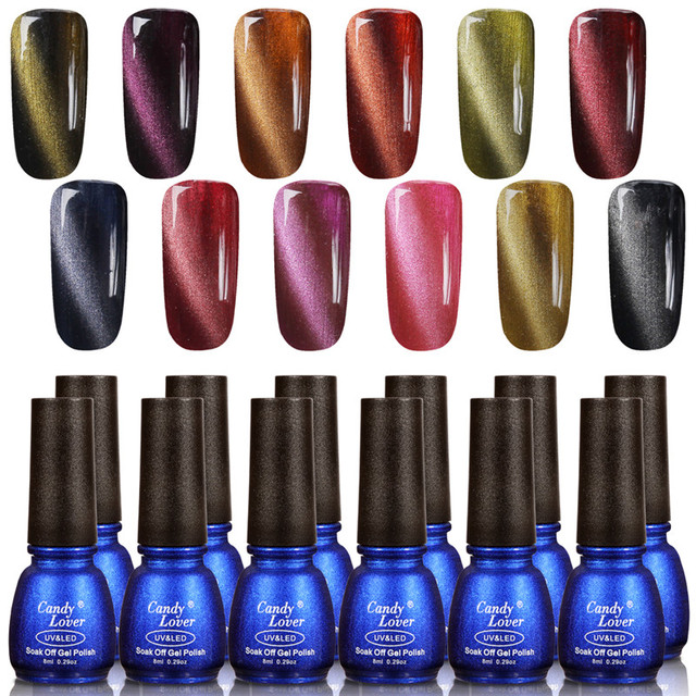 Candy Lover 12 pcs/set 3D Magnetic Gel Nail Polish Amazing Cat Eyes ...