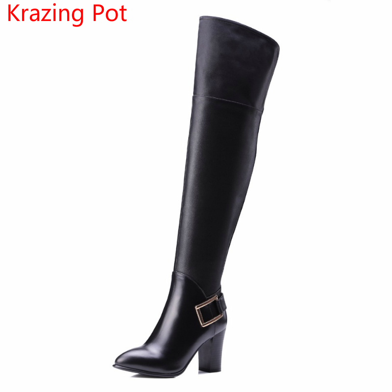 2018 Genuine Leather Metal Buckle  Pointed Toe Winter Boots Keep Warm Thigh High Boots High Heels Women Over-the Knee Boots L43 women winter buckle genuine leather thick high heels boots real leather pointed toe over the knee long boots plus size eu 44 45