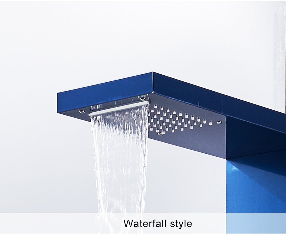 Bathroom Fixtures Shower Equipment Flg Bathroom Shower Panels Stainless Steel Sapphire Rain Waterfall Shower Panel Massage System Shower Column With Jets