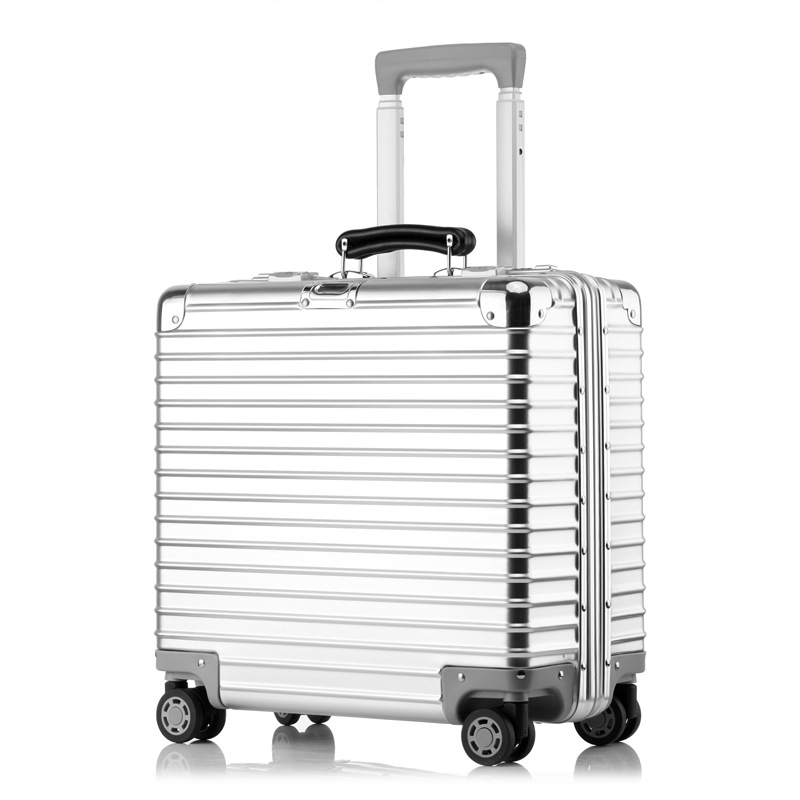 16''18'' Full Aluminum Rolling Luggage Spinner Travel Suitcase TSA Lock Cabin Luggage Women Boarding Box Carry On Bag Trolley vintage suitcase 20 26 pu leather travel suitcase scratch resistant rolling luggage bags suitcase with tsa lock