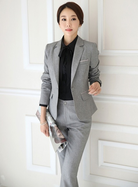 Formelle Femme Pantsuits Travail Portent des Costumes D affaires  Professionnel Vestes Et Pantalons Nouveauté Gris 9833bd8084e5