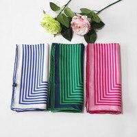 [XiuKe] scarvers nuovo modo fazzoletto di seta stampato sciarpa di seta della fascia scatola geometrica linea, blu navy, rosa bianco min sciarpa