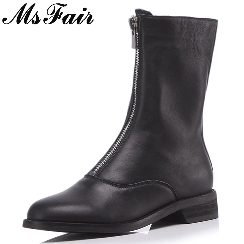 MSFAIR Round Toe Square heel Women Boot Fashion Metal Zipper Med Heel Ankle Boots Women Shoes Winter Genuine Leather Boots Women vintage women genuine real leather knee boots winter boot sexy square heel round toe zipper fashion women boots shoes size 33 40