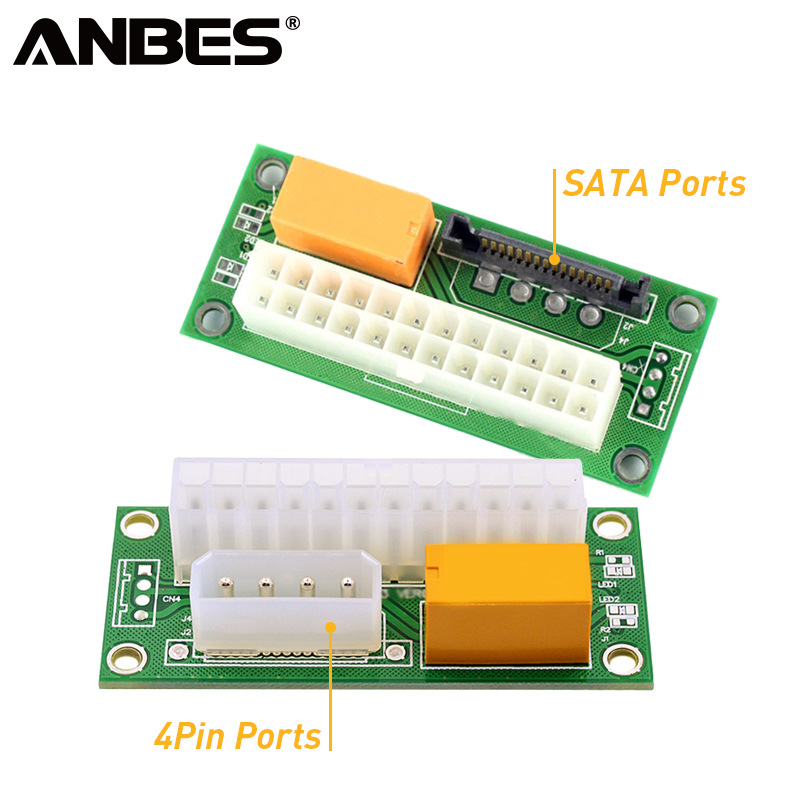цены ANBES Desktop ATX 24PIN Dual PSU Power Synchronizer Start Extender Cable Card adapter for Bitcoin Mining add2psu
