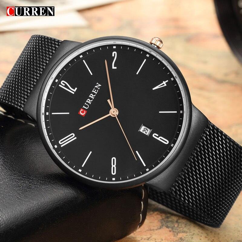 Deportes Curren mens relojes Top marca de lujo impermeable reloj deportivo hombres ultra delgado dial cuarzo reloj casual Relogio Masculino