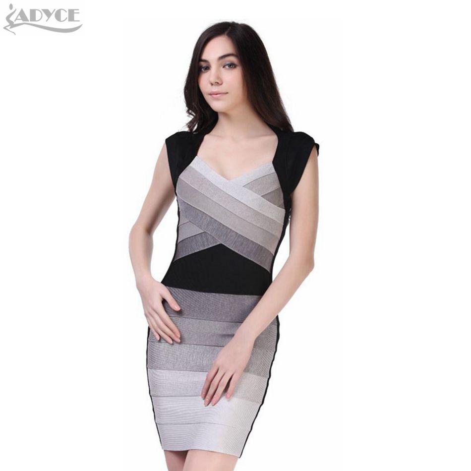ADYCE Multi-Color Ombre Grey Women Bandage Dresses Summer Slash Neck Sleeveless Celebrity Party Dress 2018 Freeshipping Vestido