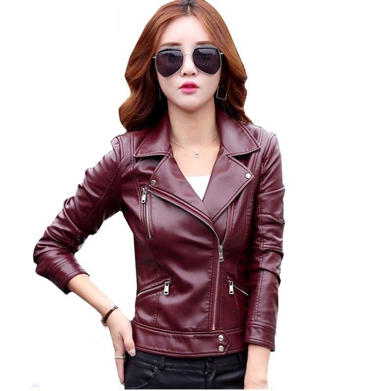 Women Faux Leather Jacket Winter Autumn Short Coat Plus size Female Slim Leather Jacket Zipper Motorcycle PU Leather Jacket 5XL