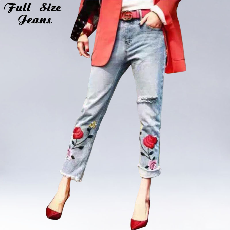 Plus Size Embroidery Ripped Hole Loose Ankle Length Jeans 4Xl 5Xl Boyfriend White Blue Casual Nine Capris Pants Streetwear