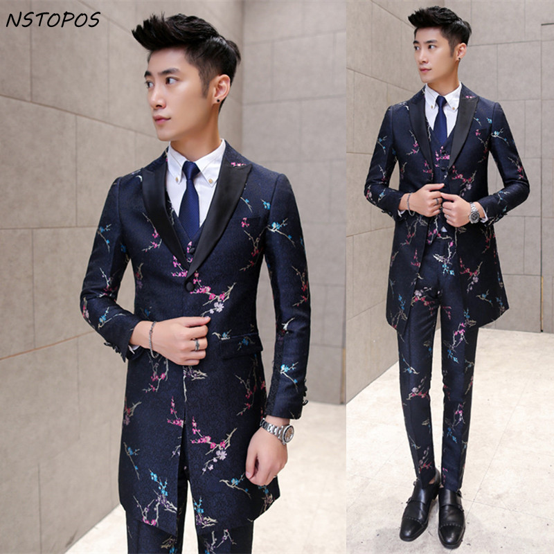 Long Men flower Suit Black White Floral Suit Men Wedding Groom Men Dress Suit Party Business Slim Fit Long (Jacket +Vest+ Pant)