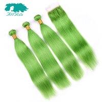 חבילות לארוג שיער אדם עם סגירת Allrun דשא ירוק 3 חבילות עם סגירה פרואני הארכת שיער הלא רמי אוזן כדי אוזן