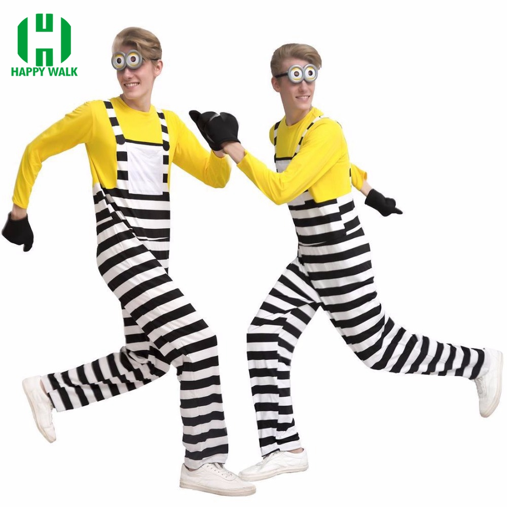 Adult Minion Costume Despicable Halloween Cosplay Costume Minion Cartoon Fancy Party Dress Top+Jumpsuits+Gloves+Glasses