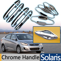For Hyundai Solaris Accent Verna 2010 2015 Chrome Trim Door Handle Covers 2011 2012 2013 2014 Hatchback Accessories Car Styling