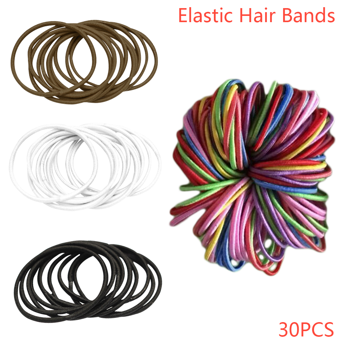 Elastic Rubberbands 30pcs/bag Hair Accessories For Girls Ponytail Holder Scrunchie Headdress Tie Gum Mix Color