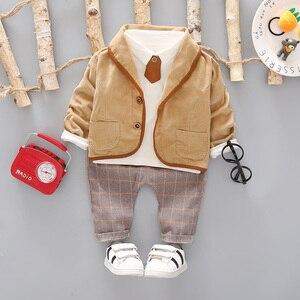 Image 2 - 3 sztuk maluch Tie ubrania wizytowe zestaw dziecko strój chłopca garnitur wiosna jesień bawełna dziecięca odzież wierzchnia dzieci odzież garnitur strój 1 4Y