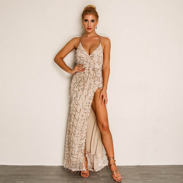 f94e4d8017b34 Evening Party Club Elegant Dress Women Dress Vestidos De Festa Womens Sexy  Dresses Gold Sequined Long Evening Maxi Dress