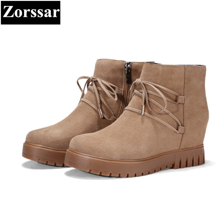 {Zorssar} 2017 NEW winter female shoes suede Height Increasing wedges ankle snow Boots high heels short boots platform shoes zorssar 2017 new classic winter plush women boots suede ankle snow boots female warm fur women shoes wedges platform boots