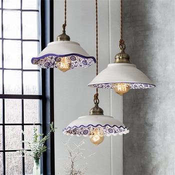 Nordic Loft Vintage Pendant Light Ceramic Lamps Dining Room Antique Hanging Lamp Fixtures Home Deco Edison Pendant Lighting