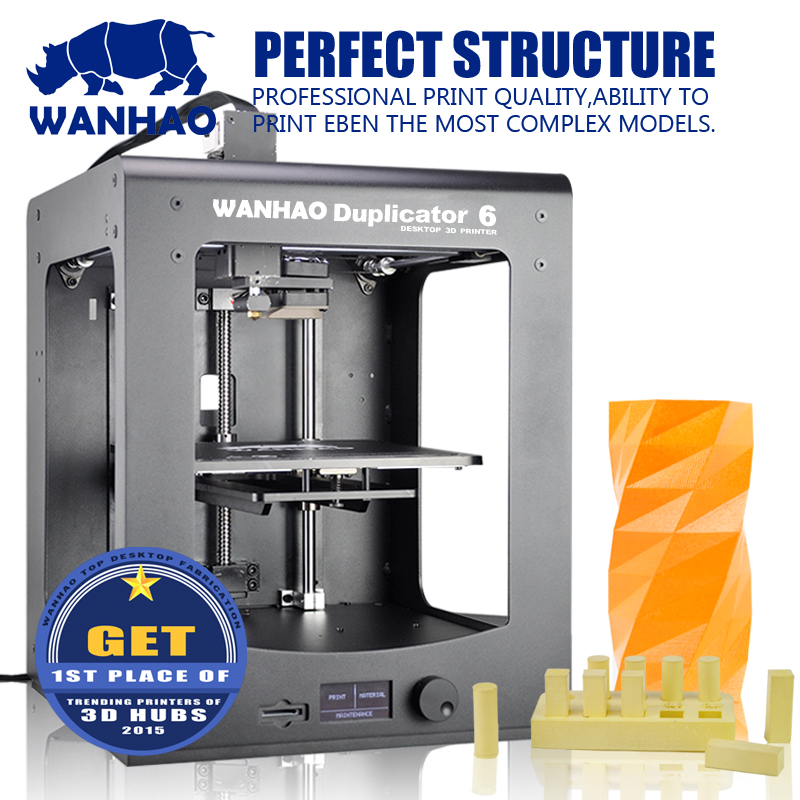 WANHAO 2016 new style Dupalictor6 3d printer with LCD screen mental frame pulley version 1kg filament