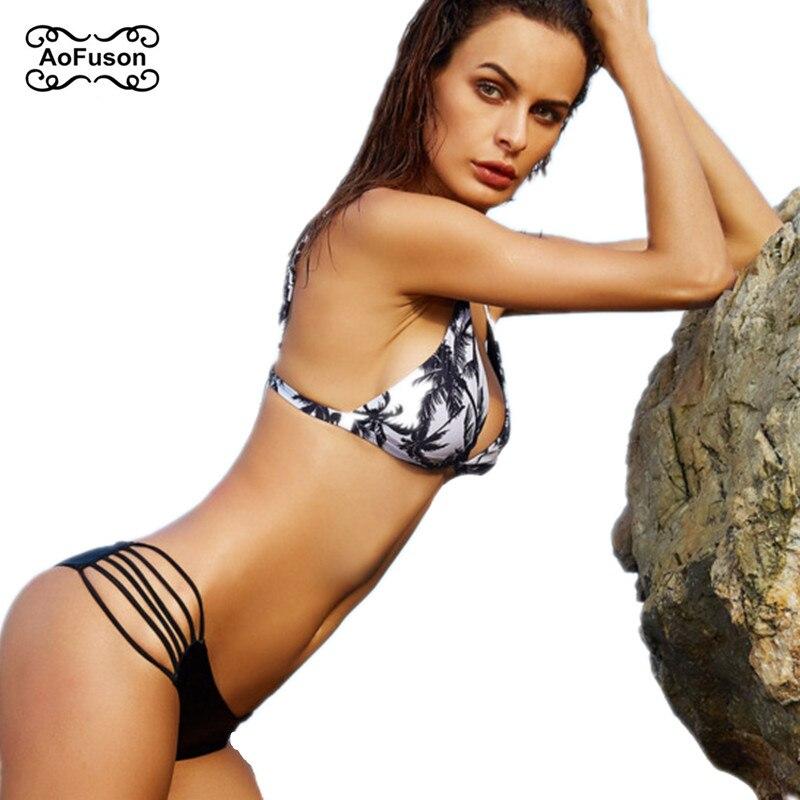 Sexy Brazilian String Bikini Set Beach Swiming Coconut Tree Print Swimsuit Push Up Cut Out Hollow Bathing Suit Swimwear Biquini