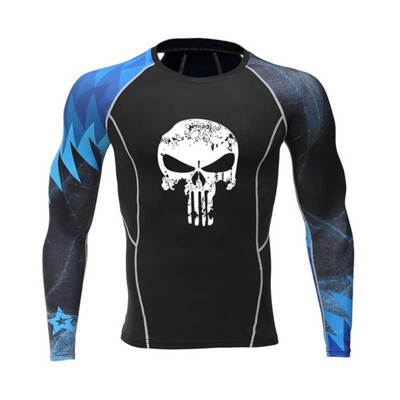 العضلات الذكور الذئب قميص ضغط نحيل أزياء تي شيرت طويلة الأكمام المطبوعة على الوجهين MMA Rashguard اللياقة البدنية قاعدة طبقة