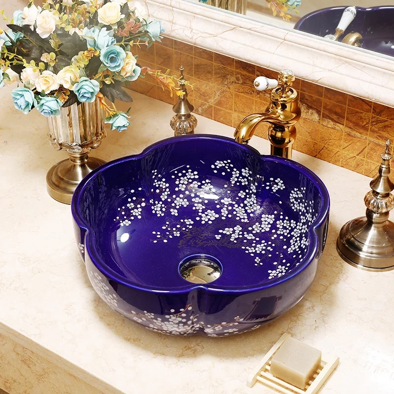 Blue and black flower shape ceramic hotel home bathroom hand wash basin sink