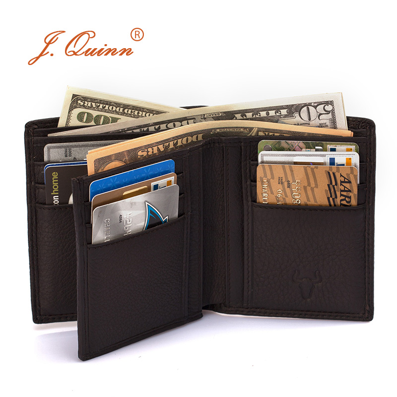 J.Quinn Genuine Leather Men Wallet Cowhide Short Bifold Brand Famous Mens Wallets 2016 New Soft Small European American Purses free shipping new women s wallet cowhide genuine leather wallet for women famous brand wallet plaid shape hot cute women purses