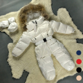 Baby Snowsuit Winter Jacket For Girls 3M-24M White Pink Black Blue Red Down Big Fur Coat Warm Newborn Snowsuit
