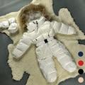 Bebê Snowsuit Jaqueta de Inverno Para As Meninas 3 M-24 M Branco Rosa Azul Preto Vermelho Para Baixo Casaco Grande De Pele Snowsuit quente Recém-nascidos