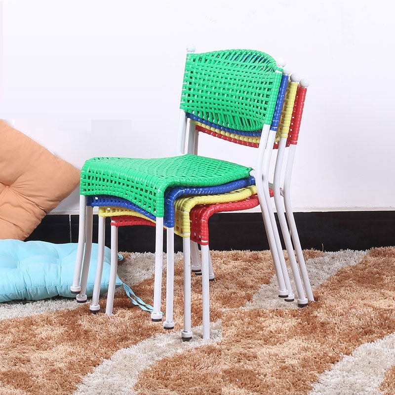 все цены на KTV bar chair PE rattan seat cafe house stool living room children chair blue green color study stool free shipping онлайн