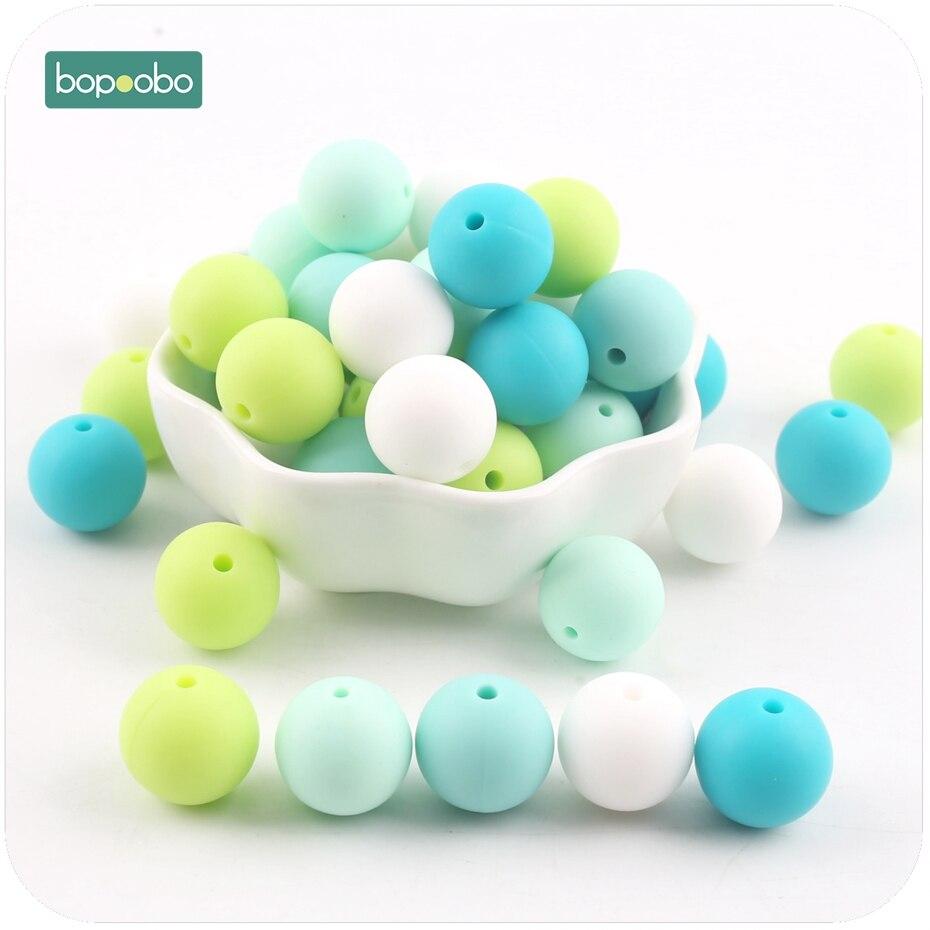 все цены на Bopoobo 10pc Baby Accessories Teether Green Series Food Grade Teething Silicone Bead DIY Nursing Bracelet Baby Teether 15mm онлайн