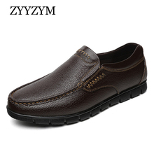 ZYYZYM Shoes Men Genuine Leather Spring Autumn Slip-On Men Leather Casual Shoes Hand Sewing Breathable Light Men Doug Shoes zenvbnv 2017 new slip on casual men loafers spring and autumn mens moccasins shoes genuine leather men s flats pigskin shoes