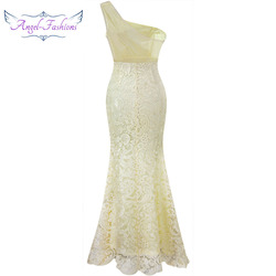 Angel-fashions One Shoulder See Through Crystal  Lace Wedding Dress Apricot 107 3