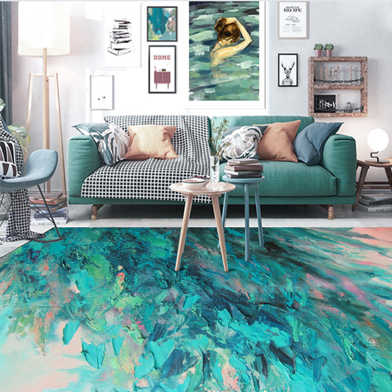 Image 2 - Nordic abstract oil painting green feather home bedroom bedside entrance elevator floor mat sofa coffee table anti slip carpet-in Carpet from Home & Garden
