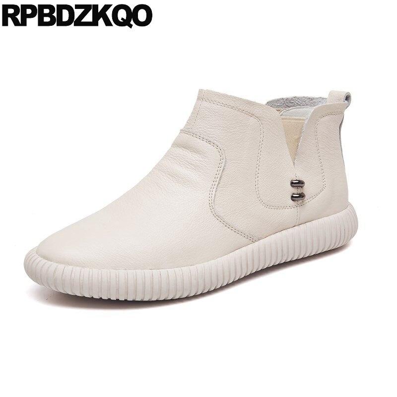 Casual blanc Chaussures noir Designer Européenne Bottes De Court Rond Sur Cheville Bout Plat Automne 2018 Chelsea Femmes Chinois Sneakers Slip Mode Beige dwpvnq1dPW