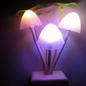 Image 4 - Dark automatic bright Mushroom Fungus Novelty Light EU & US Plug Sensor 110V 220V 3 LED Colorful Mushroom Lamp Led Night Lights