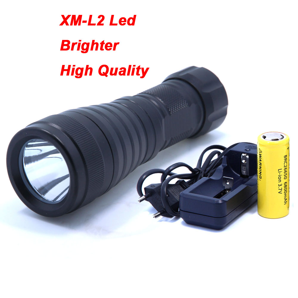 LED Scuba Diving Torch High Quality Waterproof XM-L L2 Underwater LED Diver Light Flashlight Use 26650 Rechargeable Battery cree xm l l2 5000lumens 18650 or 26650 rechargeable batteries scuba diver flashlight led torch underwater diving light lamp