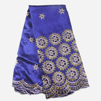 High Quality Pattern Purple George Wrappers African Cotton Embroidery George Lace Fabric With Sequins AG3 5