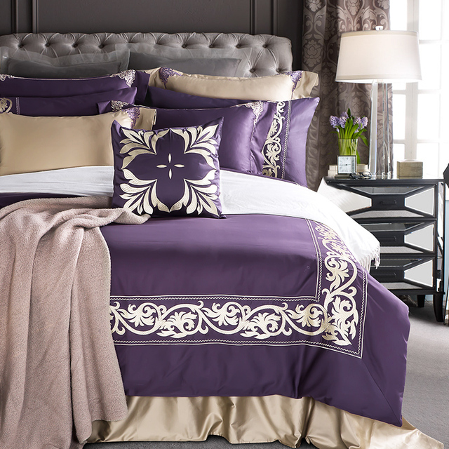 4/7Pcs Modern Luxury Purple Egyptian Cotton Bedding Set Embroidery Queen  King Size Bed Sheet