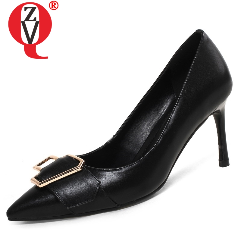 ZVQ shoes women spring new fashion high quality genuine leather women pumps 8 cm thin heels pointed toe metal decoration shoesZVQ shoes women spring new fashion high quality genuine leather women pumps 8 cm thin heels pointed toe metal decoration shoes