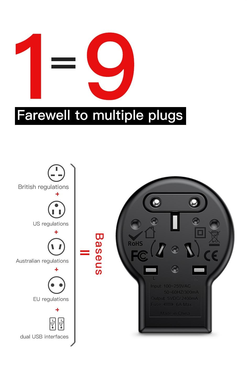 Baseus JY-109USB Universal USB Travel Charger