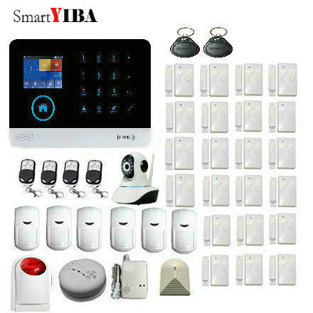 Cheap SmartYIBA APP Control IP Camera Smoke Fire Detector Glass Sensor 3G Alarm System WiFi Internet GSM Wireless Home Security Alarm