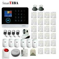 SmartYIBA APP Control IP Camera Smoke Fire Detector Glass Sensor 3G Alarm System WiFi Internet GSM Wireless Home Security Alarm