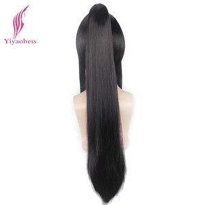 Image 4 - Yiaobess perruque synthétique longue de 60cm noire. Gray man Yu Kanda perruque avec une queue de cheval, frange pour hommes