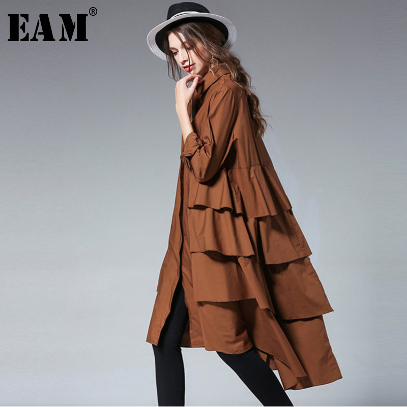 [EAM] 2020 New Spring  Lapel Long Sleeve Black Layers Irregular Hem Ruffles Split Joint Loose Big Size Dress Women Tide S01101XL