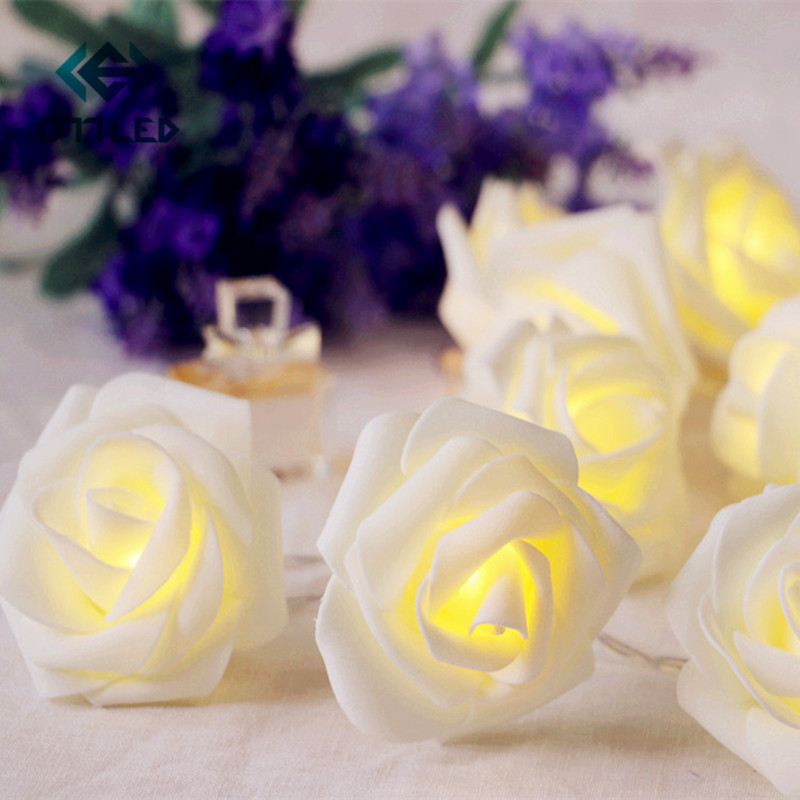 1M/2M/3M Battery Operated LED Rose Flower Christmas Holiday String Lights for Valentine Wedding Decoration HOT SALE Luminarias