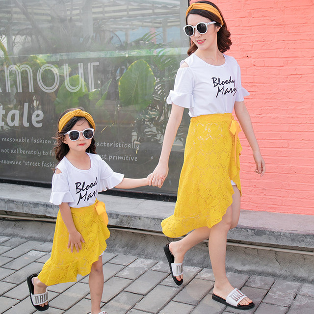 5cfe2d892c3a 2018 Summer Family Matching Outfits Fashion Korean Long T-Shirt +lace Skirt  2pcs Set