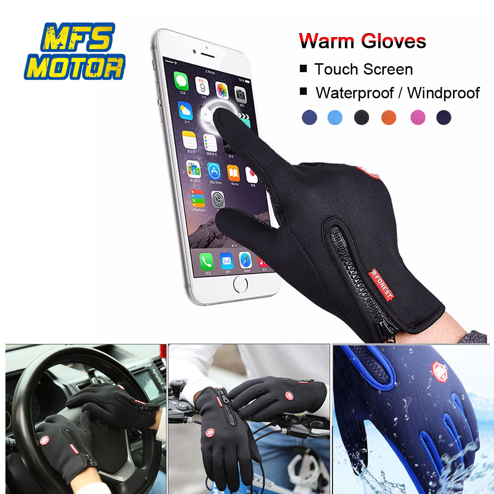 Motorcycle Gloves Windstopper Full Zipper Screen Touch Car-styling Sports