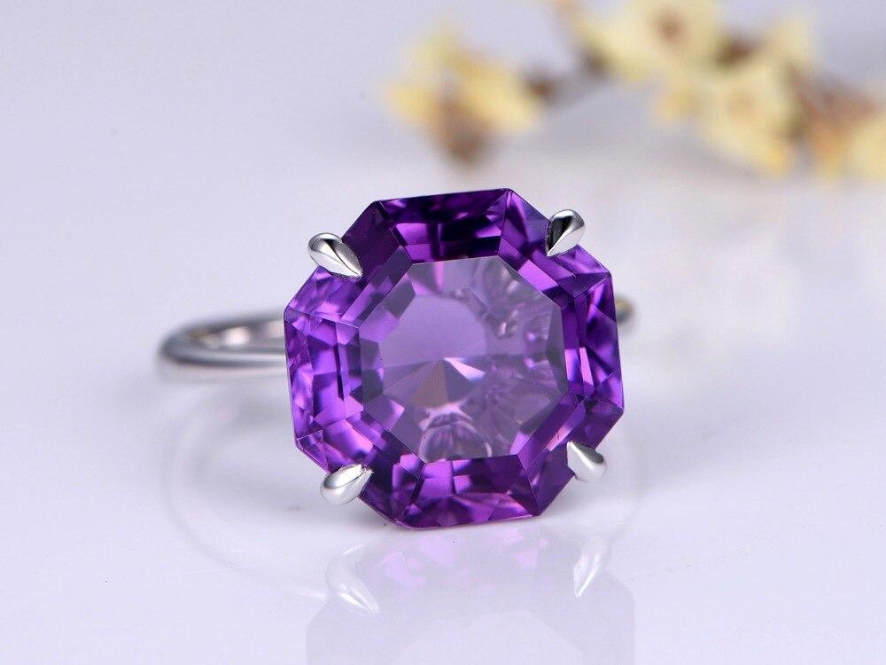 Myray шестиугольник вырезать Природные Фиолетовый аметист драгоценный камень 14 К белого золота Обручение партии кольцо Винтаж Для женщин Для