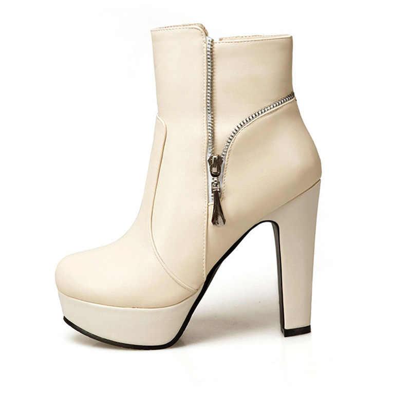WETKISS Büyük Boy 34-50 Kalın Yüksek Topuklu Ayak Bileği Kadın Çizmeler Yuvarlak Ayak Ayakkabı Pu Bayan Ayakkabıları 2020 Yeni sonbahar Platform Bootie