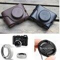 3en1 negro cuero de la cámara funda bolsa para fujifilm fuji Finepix X10 X20 + Parasol + 58 MM tapa de la Lente Exento gastos de envío